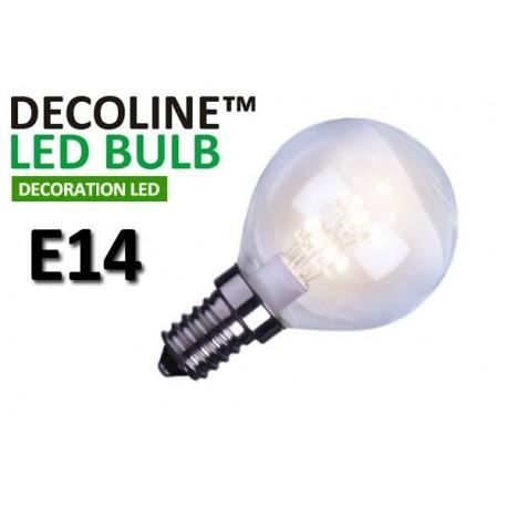 Klotlampa LED Decoline Klar 0,7W E14 Vit