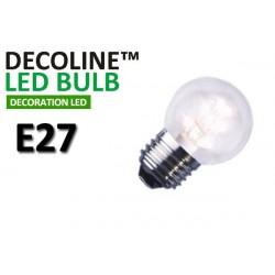 Klotlampa LED Decoline Klar 0,9W E27 Vit