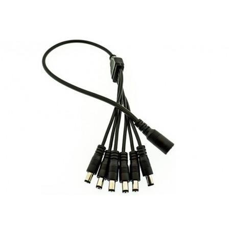 6-vägs svart splitter/fördelningskabel 2,1mm DC-plugg
