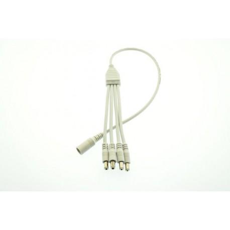 4-vägs vit splitter/fördelningskabel 2,1mm DC-plugg