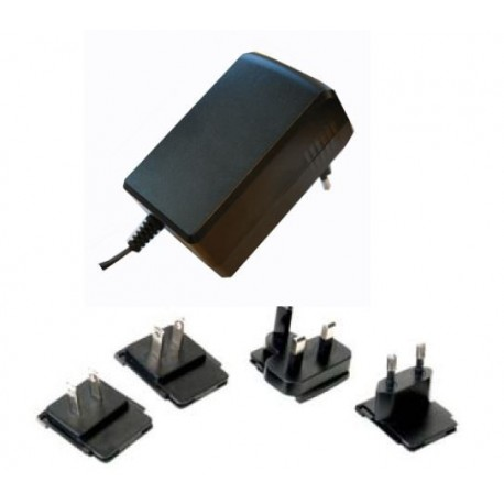 12V Switchad adapter 36W med utbytbara AC pluggar