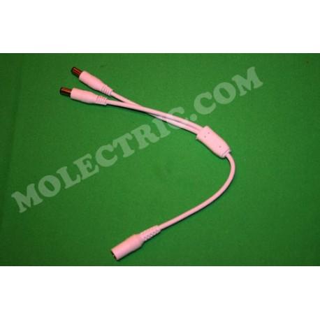 2-vägs splitter/fördelningskabel 2,1mm DC-plugg