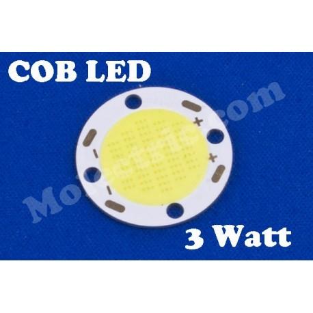 COB LED, rund, Varmvit 3 Watt